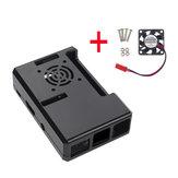 Zwart ABS Koffer met ventilatoropening + CPU-koelventilator voor Raspberry Pi 3/2
