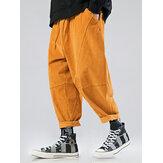 Coulisse allentata multi tasca in velluto a coste tinta unita da uomo Pantaloni