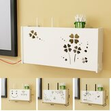 Wi-Fi Router Storage Box Wall Mounted PVC Shelf Hanging Bracket Cable Organizer