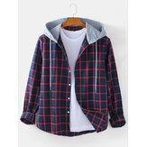 Mens Classical Check Button Up Long Sleeve Casual Plain Drawstring Hooded Jacket