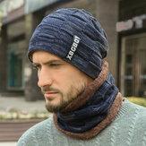 Hombres 2PCS Lana Plus Terciopelo Plus Espesor Invierno al aire libre Mantener caliente Cuello Bufanda de protección para la cabeza de punto Sombrero