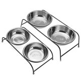 Double Pet Bowl Dish Dog Cat Stand Feeder Food Water Stainless Steel Durable