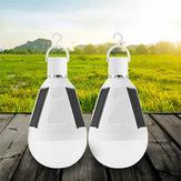 2 adet 7 W Solar Powered E27 LED Şarj Edilebilir Ampul Çadır ile Kampçılık Acil Lamba Çengel