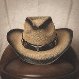 Мужчины Солнцезащитный крем Travel На открытом воздухе Лето Пляжный Шапка Western Cowboy Style Spraw Straw Шапка