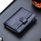 Bullcaptain Men Genuine Leather Vintage Detachable Business Card Holder Wallet
