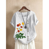 Flower Embroidery O-neck Short Sleeve Button Casual T-shirts For Women