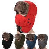 Cappello con Paraorecchie da Uomo di Velluto Cappello Russo per Outdoor Sci Antivento con Maschera Cappello Lei Feng