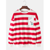Mens Cotton Stripe & Letter Print Print Pullover Drop Shoulder Long Sleeve Sweatshirts