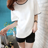 Women Casual Solid Color Short-sleeved T-shirts