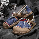 Women Linen Old Peking Printing Stricing Slip On Loafers
