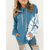 Women Print Kangaroo Pocket Loose Fit Long Sleeve Drawstring Hoodies
