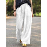 Women Cotton Solid Drawstring Elastic Waist Wide Leg Pants With Pocket