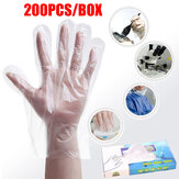 200Pcs Disposable Gloves Latex Powder Free Clear HDPE Catering Food Cleaning