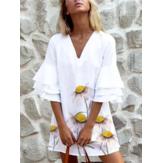 Volantes con cuello en V estampado floral para mujer Vestidos casuales blancos