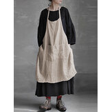 S-5XL Vintage Women Pure Color Kieszenie Cotton Linen Dress