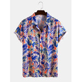 Mens Tropical Plant Blattdruck Light Casual Revere Collar Kurzarmhemden