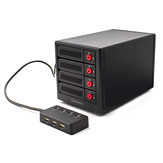 OImaster 4 Bays USB3.0 to SATA Hard Drive Enclosure Rack SSD HDD Drive Bay Hard Disk Dock Case with Separate Switch EB-8402U3
