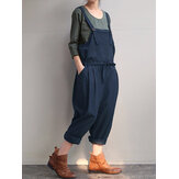 Women Pure Color Strap Pocket Drawstring Harem Jumpsuit