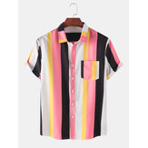 Camisas casuales transpirables de pocker a rayas prácticas Colorful para hombre
