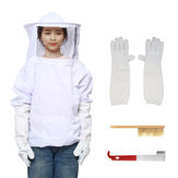 4Pcs Safe Bee-Proof BeeKeeping Veil Hat Suit Work Gloves Bee Hive Brush J Hook Tool