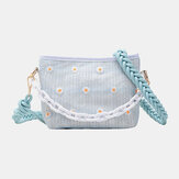 Women Travel Straw Daisy Handbag Crossbody Bag Shoulder Bag