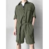 Herren Military Style Taschen Workwear Strampler Gürtel Loose Overalls Jumpsuit