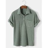 Henley de manga corta con solapa informal tipo gofre de color sólido para hombre Camisa