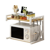 2 Tiers Microwave Oven Rack Baker Stand Kitchen Storage Shelf Desktop Seasoning Flavoring Organizer