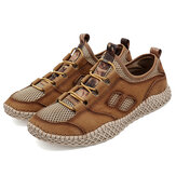 Cowhide Breathable Mesh Casual Outdoor Hiking Sneakers