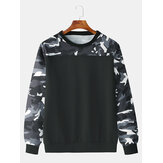 Men Fashion Casual Black Camouflage Crew Neck Sweatshirt