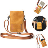 Vintage PU Leather Card Holder 6inch Phone Bolsa Shoulder Bolsa Crossbody Bolsas