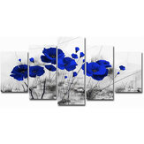 5pcs Modern Wall Canvas Painting Red Blue Purple Ink Poppy Flower Home Decoration