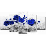 5 pièces moderne mur toile peinture rouge bleu violet encre pavot fleur décoration de la maison