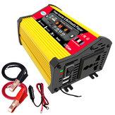 1200W Peak Car Power Inverter com MP3 Multimedia Player DC 12V para AC 110V 220V Conversor de saída AC de carga rápida USB dupla FM bluetooth LED