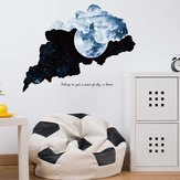 Miico Creative 3D Moon Night Star SkyTear Patroon PVC Verwijderbare Home Room Decoratieve Muur Deur Decor Sticker