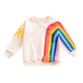 Rainbow Pattern Cotton Girls Clothing Long Sleeve O-Neck Kids Tops