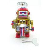 Classic Vintage Clockwork Rüzgar Gülü Davul Çalma Robotu Anı Anahtarı ile Çocuk Çocuk Kalay Oyuncakları