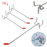10Pcs Stainless Steel Wall Display Hooks for Coat Shop Slatwall Panel 10 × 150MM