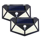 2 / 4шт 100 LED Солнечная Мощность Водонепроницаемы PIR Движение Датчик Солнечная Свет На открытом воздухе Сад Лампа
