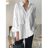 Женские хлопковые пэчворк с лацканами, однотонные повседневные рубашки с длинными рукавами и пуговицами с карманом