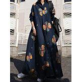 Damska sukienka w stylu retro z kwiatowym nadrukiem z klapą czeska luźna sukienka maxi z długim rękawem z kieszenią