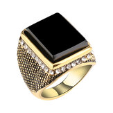 Hip Hop Resin Geometry Rhinestone Ancient Gold Ring voor heren