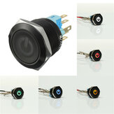 12V 6 Pin 22mm Led Light Metal Push Button Momentary Switch