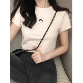 Short Sleeve O-neck Crescent Casual T-shirts For Women