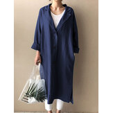 Women Button Up Lapel Side Fork Long Sleeve Denim Overshirt With Pocket