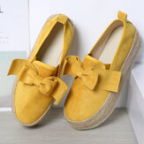Large Size Women Casual Butterfly Knot Straw Platform Loafers