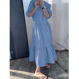 Solid Color Puff Sleeve Pleats Ruffle Hem Holiday Maxi Dress