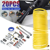 20Pcs Air Compressor Accessory Kit Blow Dust Guns Pneumatic Air Coil Hose Chuck Set