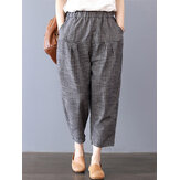 Women Stripe Elastic Waist Pockets Harem Pants