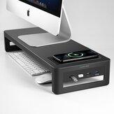 Vaydeer ZGB0 Supporto per laptop con USB 3.0 / USB 2.0 / Ricarica wireless Monitor per computer in metallo Supporto rialzato per schermo da tavolo Base di archiviazione Scrivania Organizzatore per ufficio casa